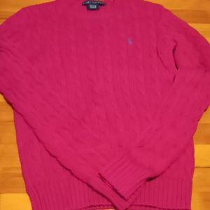 Dark Pink Ralph Lauren knitted crewneck sweater!
